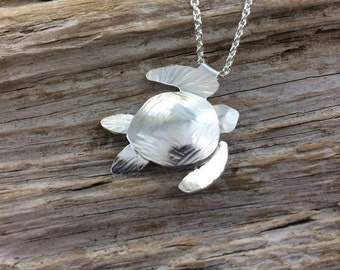 Turtle Pendant in Sterling Silver or Bi Metal