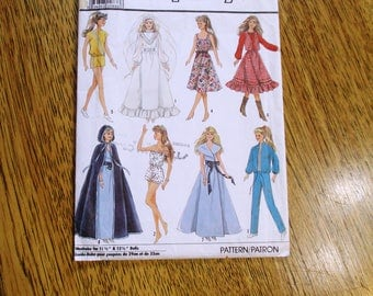 1980's Barbie Doll Fashion Wardrobe - Dresses, Jumpsuit, Wedding Gown - UNCUT Vintage Sewing Pattern Simplicity 8333