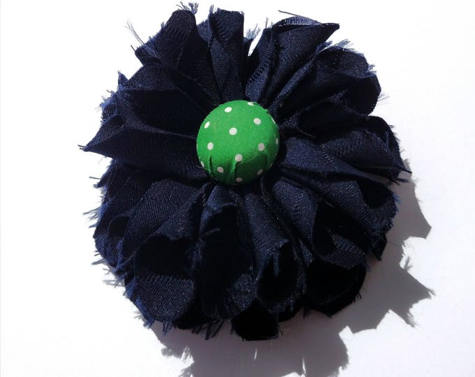 Recycled Vintage Necktie Fabric Flower Clip Pin - Navy and Green Polka Dot