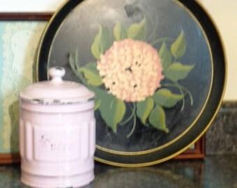 Vintage Hydrangea Tole Tray