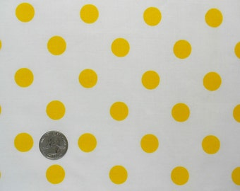Yellow Polk a Dots , Vintage Sheet Fat Quarter