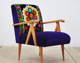Wooden Armchair -  purple sky