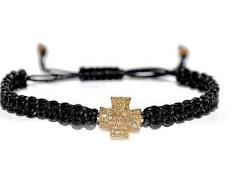 14k Pave Diamond Cross Woven Leather Bracelet. *Made To Order*
