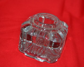 Antique Clear Glass Inkwell