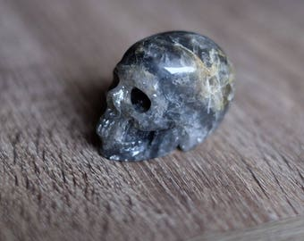 Gray Quartz Stone #3 Carved Crystal Skull