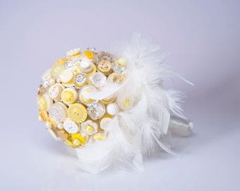 Yellow and Gold Button Bouquet  Bride and Bridesmaid