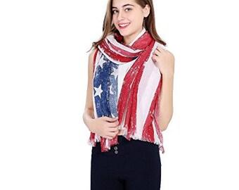 Vintage Print Boho American Flag Scarf, Unisex Scarf, Cotton Blend Patriotic, July 4th, Americana, American Flag Scarf Red White Blue