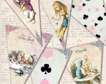 Printable Alice in Wonderland Banner Bunting color party banner diy paper crafting instant download digital collage sheet - VDBAAL1402