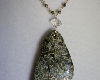 Chrysocolla and Herkimer Diamond on Pyrite Necklace