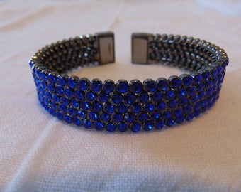 vintage FRAGMENTS mfg. cuff bracelet anthricite plated blue crystals
