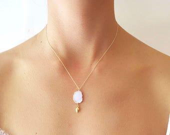 Pink Druzy Gold Dangle Necklace - Druzy Necklace - Druzy Jewelry