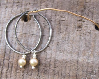 rustic hoops with vintage faux champagne pearls