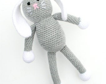 Baxter the Crochet Bunny -  grey and white - *READY TO SHIP*