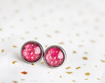 Strawberry Stud Earrings, Red, Strawberry Earrings, Strawberry Studs, Fruit Earrings, Red Studs, Summer, Berry, Red Berry, Strawberries