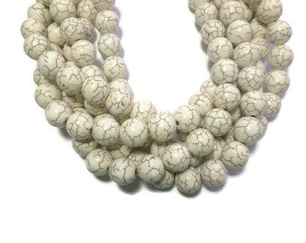 Bone White Howlite - 12mm Round Bead - Full or Half Strand - 34 or 17 beads - Ivory Cream - Synthetic White Turquoise