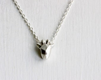 Faceted Giraffe Sterling Silver Necklace