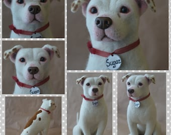 Custom American bulldog Artist Needle Felted Dog Sculpture Memory pet Portrait Sculpture of your pet Dog replica stuffed dog Wool art toys