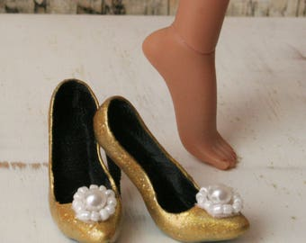 Kingdom Doll Shoes Gold Pearls