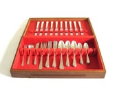 "Wm Rogers & Son Silverplate Flatware Set Service for 10, International Silver ""Paris,"" 1930s Silverware Chest"
