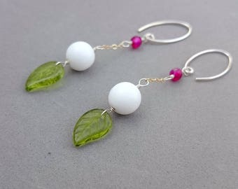 Green Leaf Earrings with Snow White Czech Glass, Hot Pink Chalcedony, Sterling Silver and Gold Fill