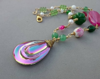 Chunky Green Jade Necklace Statement - Hot Pink Agate Necklace with Porcelain, Freshwater Pearl, Vintage Glass and Brass