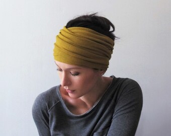 OCHRE Head Scarf - Dark Mustard Yellow Hair Wrap - Camel Brown Headband - Bohemian Hair Accessories - Bohemian Hair Wrap - Boho Style