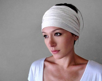 IVORY Yoga Head Scarf - Bohemian Hair wrap - Jersey Headband - Lightweight Workout Hair Accessory - Womens Bohemian Hair accessories