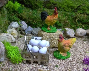Fairy Garden Chicken, Rooster and Egg Basket