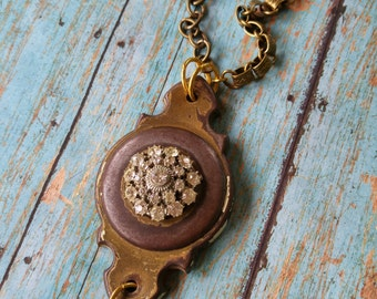 Upcycled Vintage Brass Hardware Necklace - Industrial, Steampunk, Repurposed, Victorian, Rhinestone Button, Unique, One of a Kind Jewelry