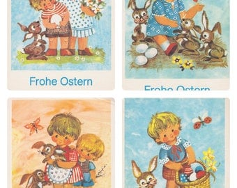 German Easter Postcards, Set of 4 -- 1970s. Condition 9/10