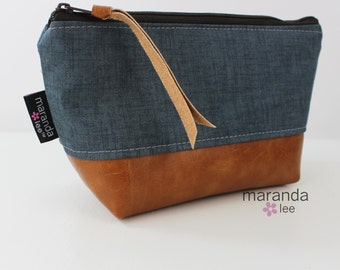AVA Small Clutch - Blue Denim with PU Leather READY to SHIp Cosmetic Toiletries bag Travel Make Up Zipper Pouch