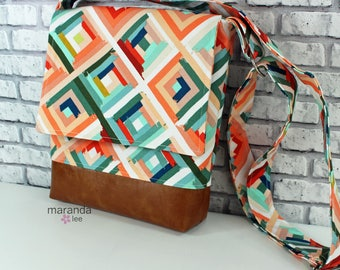 Nori Medium Flap Messenger Slouch Bag with Adjustable Cross Body Bag - Roadway -  iPad Bag  READY to SHIP