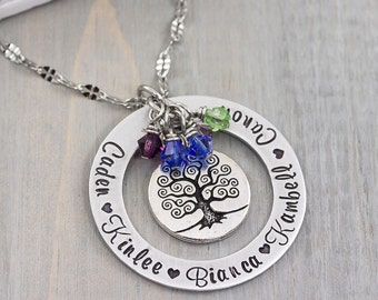 Mothers Necklace - Personalized Mothers Day Gift - Kids Name Necklace - Mother Jewelry - Hand Stamped Jewelry - Gift for Mom or Grandmother