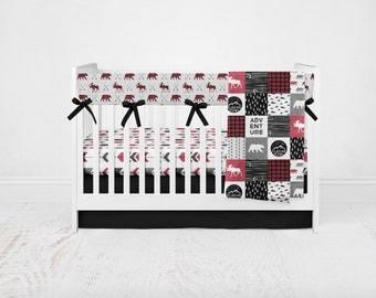 Baby Bedding Happy Camper Set - Woodland Animal Bedding- Woodland Crib Sheet- Arrow Crib Sheet- Bear Crib Sheet-Crib Bedding-Crib Blanket