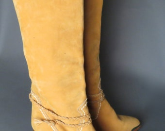 vintage 70s tan suede ZODIAC southwestern boots // braided ankle strap // cowgirl boots // boho // size 8.5