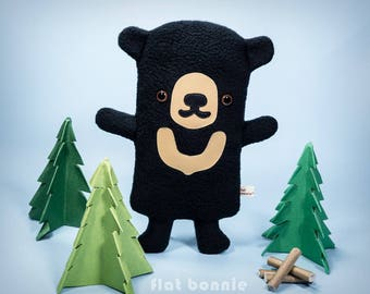 Sun Bear plush, Bear stuffed animal, Kawaii bear cub soft toy, Cute black bear plushie doll, Handmade gift boy girl, Wildlife Flat Bonnie
