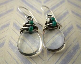 Czech Glass Teardrop Beaded Earrings - Czech Glass & Sterling Silver Wire Wrapped Earrings