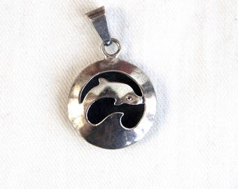 Sterling Silver Dolphin Pendant Vintage Mexican Ocean Animal Jewelry Taxco Mexico Surfer Girl Gift