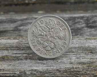 Sixpence Lapel Pin. Lucky Tie Tac. Wedding, Men, Groomsmen Gift, Anniversary, Bridal, Groom Gift, Dad. Six Pence, Something Old, Borrowed