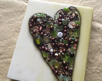 Jeweled Olive green heart painting - 7x6