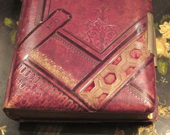 Antique Album Victorian Leather As Found