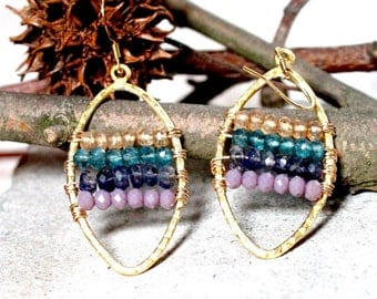Gemstone Beaded Vermeil Marquis Earrings -Custom colors available- Made to Order- #2 in stock