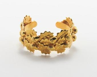 Ines de la Fressange Vintage Gold Acorn Leaf Wrap Bracelet / Signed & Numbered