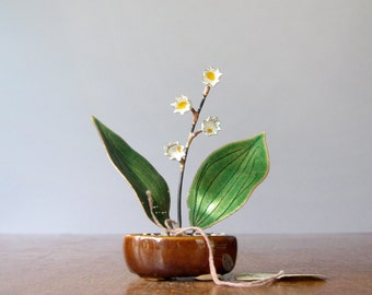 Small Mid Century Bovano Enamel Lily of the Valley Flower