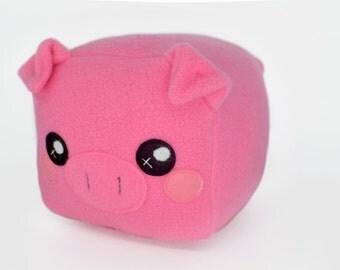 Piglet plushie loaf shape cube square plush toy kawaii pillow cushion novelty farm animal pink sweet loaf
