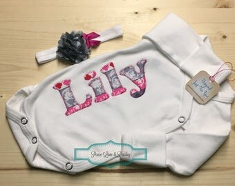 Preemie Bodysuit and Headband Set, Personalized Preemie, Monogrammed Preemie, New Baby Gift, Monogrammed Baby,Girl Preemie Going Home Outfit