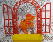 Vintage Sun Bonnet Sue Wall Pocket Planter by Bernard Edward Company Red and Yellow Plastic trustyboomer