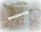 RESERVED FOR KITTY - Faceted 3 D Cube Rose Quartz Pendant and Earrings Jewelry - Sterling Silver