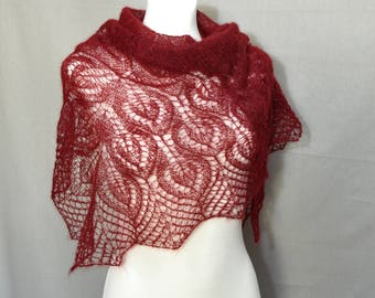 Oxblood Hand Knit Lace Shawl, Garnet Hand Knitted Lace Shawl, Red Scarf, Maroon Lace Shawl, Womens Shawl, Gift idea for her,