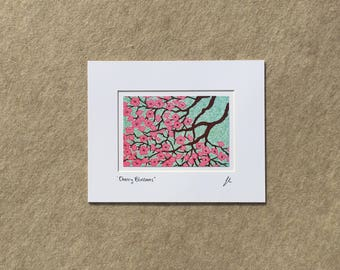 "Small print ""Cherry Blossoms"" YOUR CHOICE of mat color, fits 8x10 inch frame, high quality reproduction print"